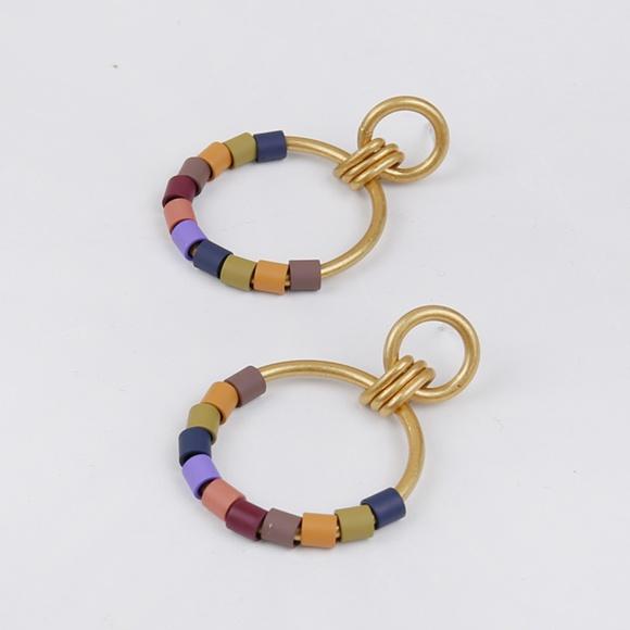 Madewell Jewelry - Madewell Rainbow Beaded Statement Hoop Earrings